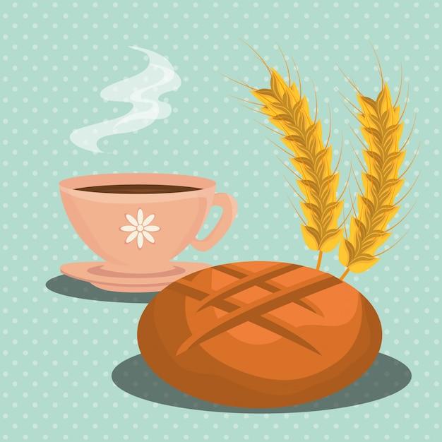 パン屋さんの料理と美食 無料ベクター