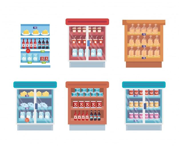 棚と製品を備えたスーパーマーケット冷蔵庫 無料ベクター