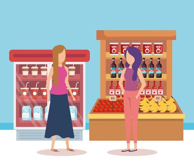 Женщины на полках супермаркетов с продуктами Бесплатные векторы