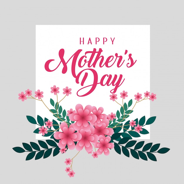 幸せな母の日に花と枝の葉を持つカード 無料ベクター