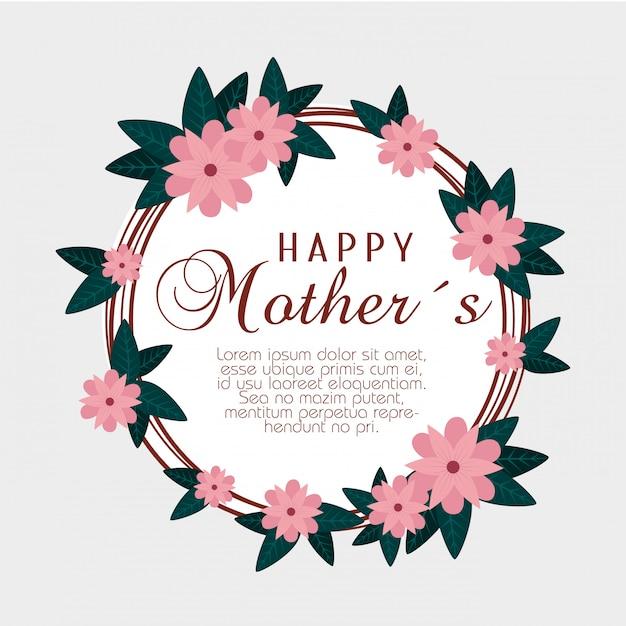 Открытка с цветами и листьями к счастливому дню матери Бесплатные векторы