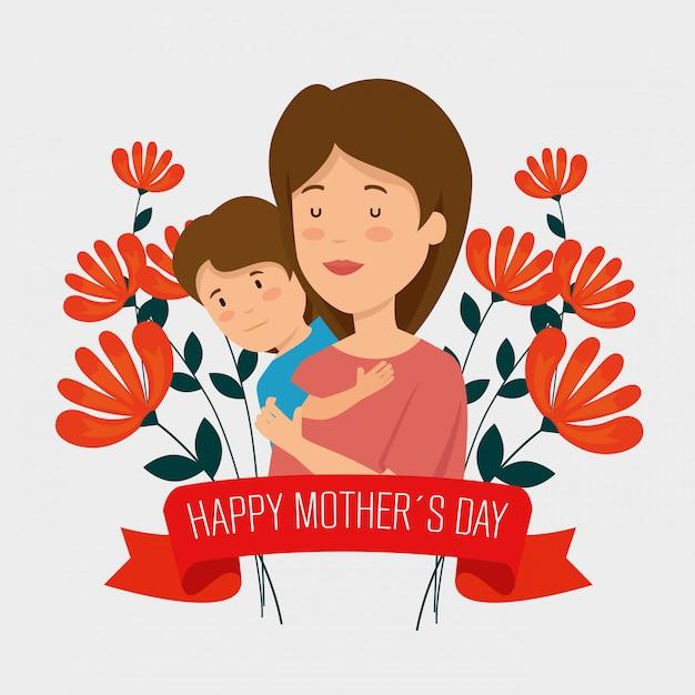 Женщина с сыном и цветами растений с лентой Бесплатные векторы
