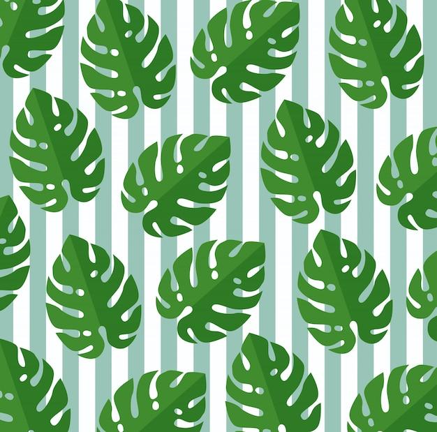 熱帯の葉の植物植物のシームレスパターン 無料ベクター