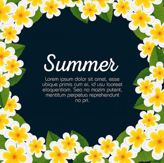 花と熱帯の葉の夏カード 無料ベクター