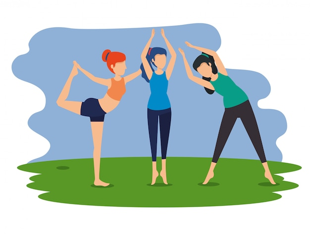 女性はヨガの練習位置を練習します 無料ベクター
