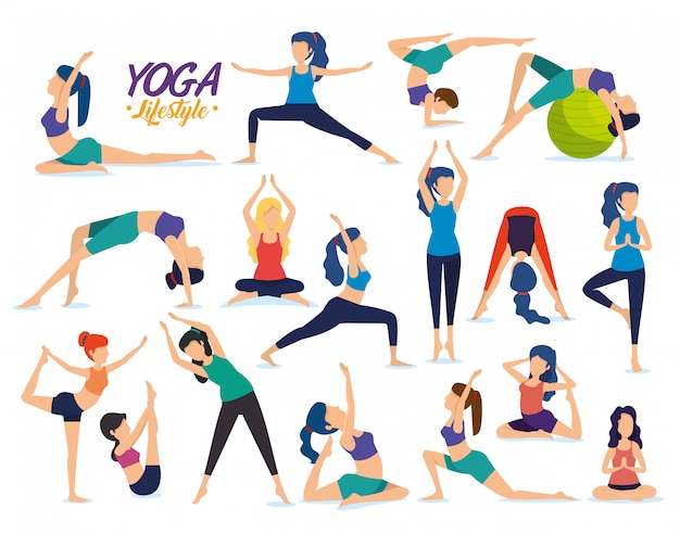 Набор фитнес женщин практикующих позу йоги Бесплатные векторы