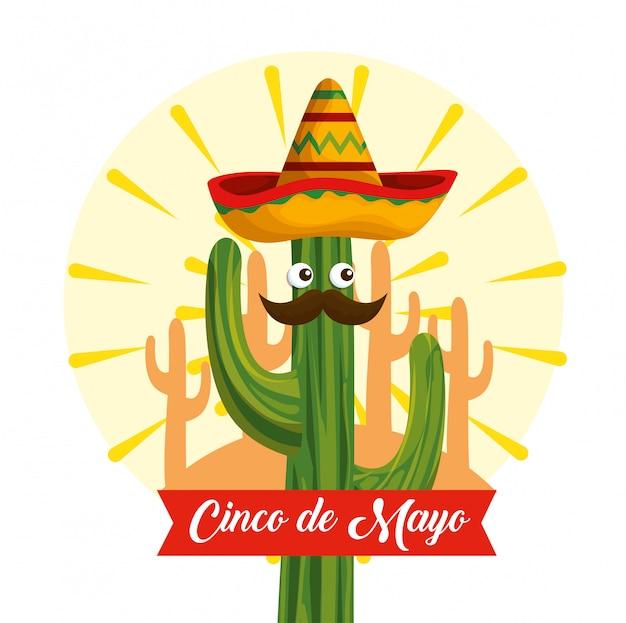 Кактус с глазами в мексиканской шляпе на мероприятие Бесплатные векторы