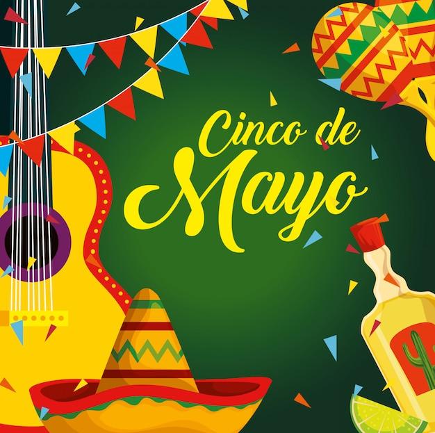 Мексиканская гитара с шляпой и текилой на мероприятие Бесплатные векторы