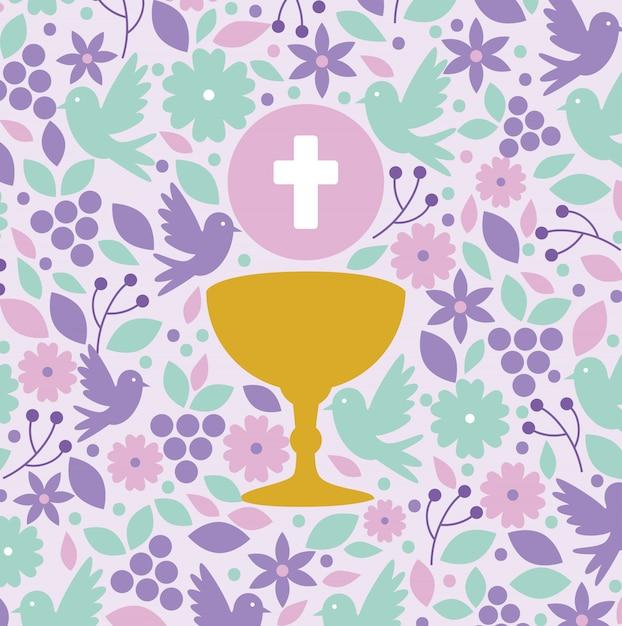 最初の聖体拝領の聖なるホストと聖杯 無料ベクター