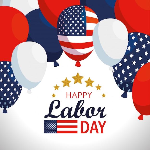 アメリカ国旗風船と労働者の日 無料ベクター