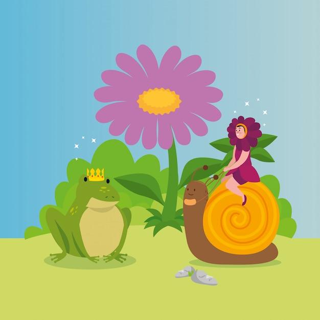 女性はおとぎ話のシーンで動物と花を偽装 無料ベクター