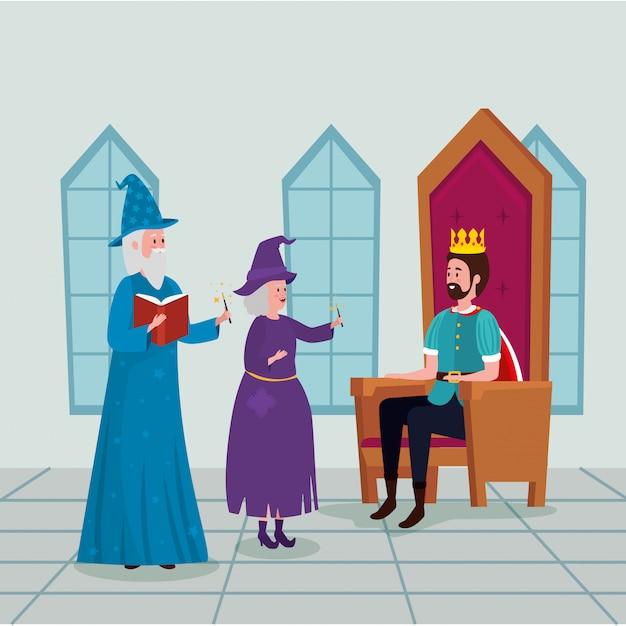 城の魔法使いと魔女の王 無料ベクター