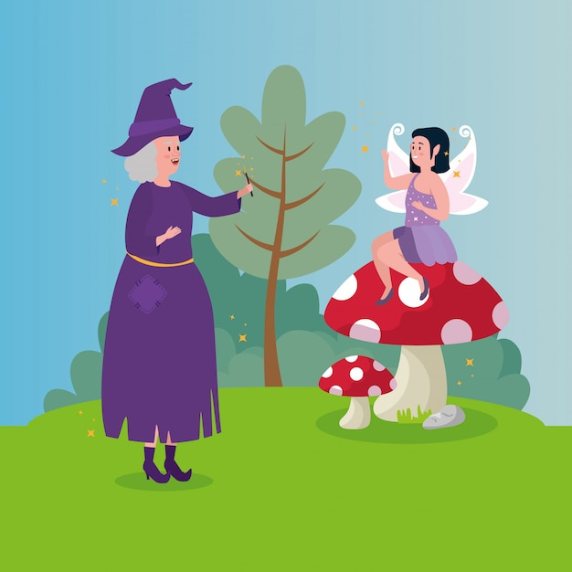 シーンのおとぎ話の妖精と魔女 無料ベクター