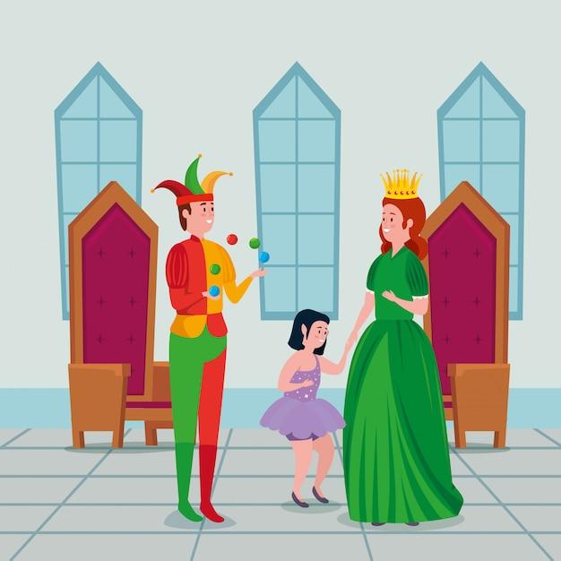 Прекрасная принцесса с джокером и феей в замке Бесплатные векторы