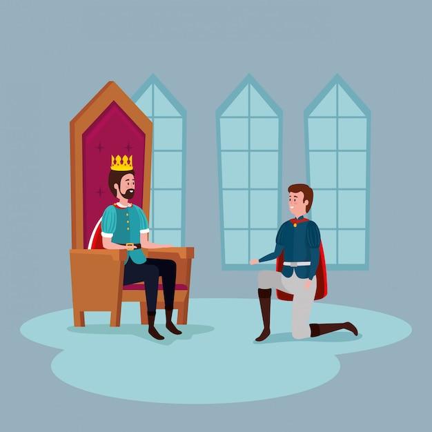屋内の城で王子と王 無料ベクター