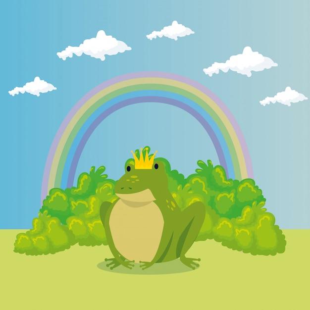 Милая жаба с радугой в сцене сказки Бесплатные векторы