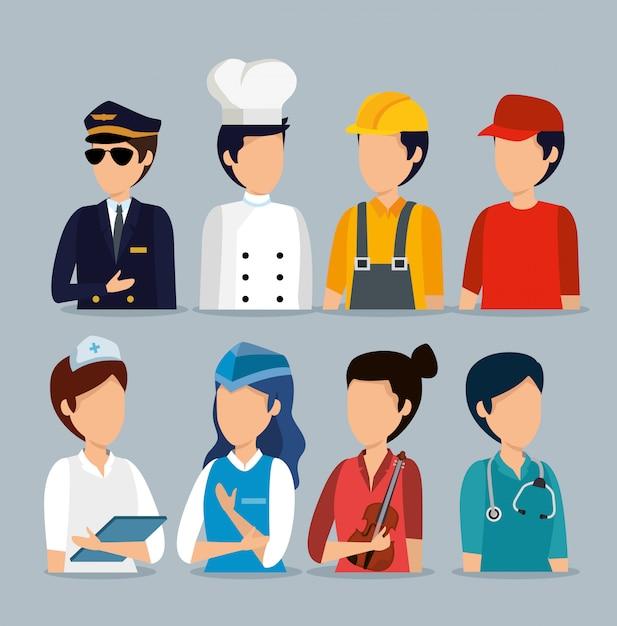Установите профессиональных работодателей на празднование дня труда Бесплатные векторы
