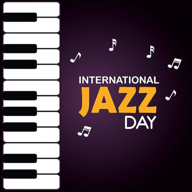 Фортепиано с нотами и джазовым днем Бесплатные векторы
