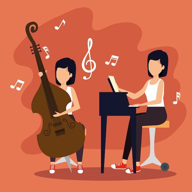 ジャズフェスティバルの女性演奏楽器 無料ベクター