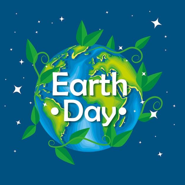 地球の日に葉の枝を持つ惑星 無料ベクター