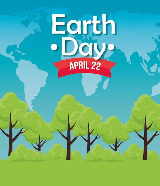 地球の日のお祝いに木を保護 無料ベクター