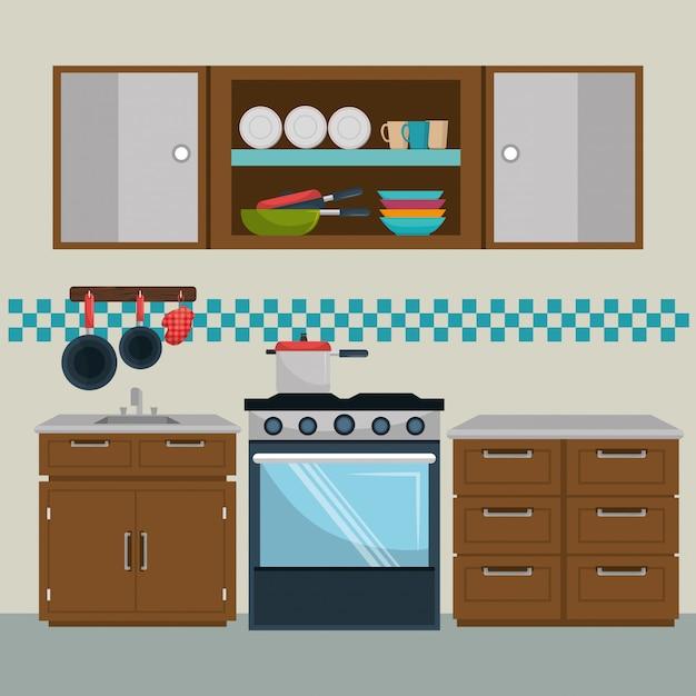 Элементы кухни современной сцены Бесплатные векторы