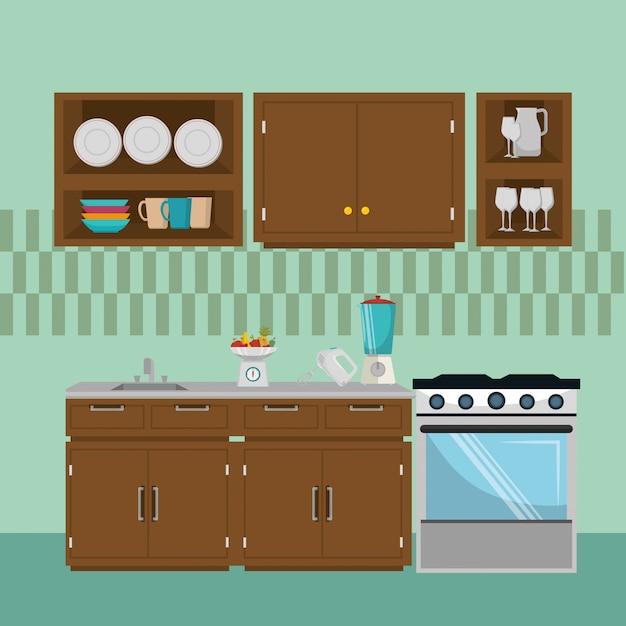キッチン現代シーン要素 無料ベクター