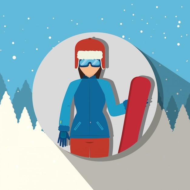 Зимняя спортивная одежда и аксессуары Бесплатные векторы