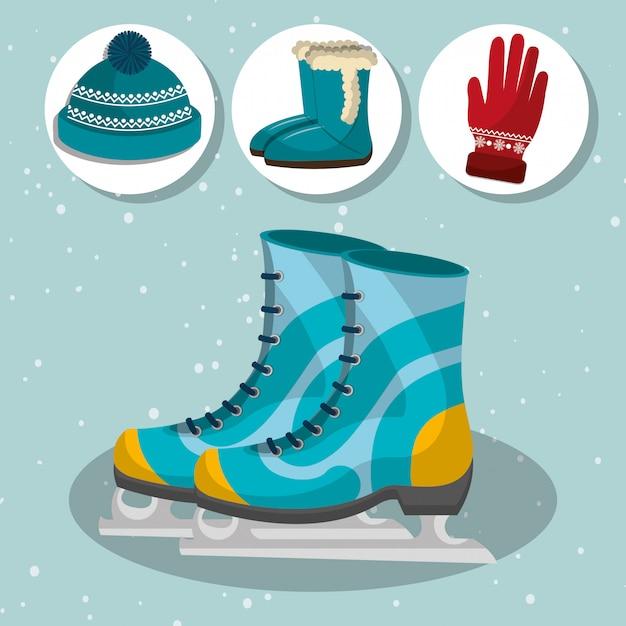 Зимняя мода одежда и аксессуары Бесплатные векторы
