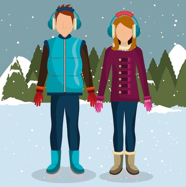 冬のファッションウェアとアクセサリー 無料ベクター