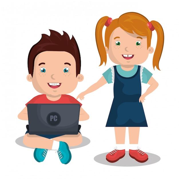 コンピューターを使用している子供 無料ベクター