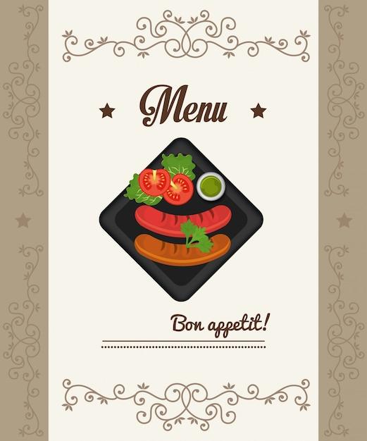 Гастрономия и меню ресторана Бесплатные векторы