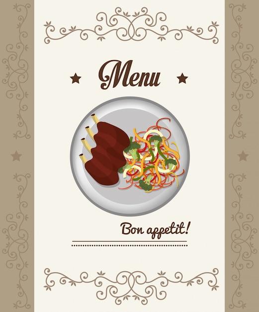 美食とレストランのメニュー 無料ベクター