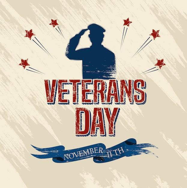 軍隊と星との退役軍人の日のお祝い Premiumベクター