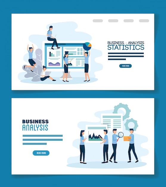 Работа в команде установить сцены анализа инфографики Premium векторы