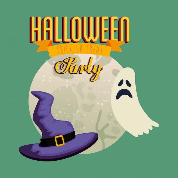 Афиша вечеринки хэллоуин с призраком и шляпой ведьмы Бесплатные векторы