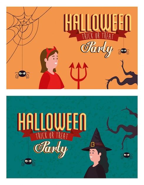 Установите плакат партии хэллоуина с замаскированными женщинами Бесплатные векторы