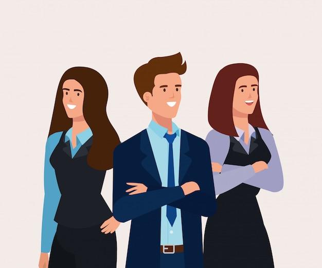 Встреча деловых людей аватарного характера Бесплатные векторы