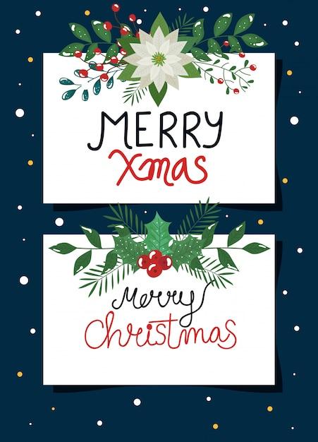 Набор плакатов с рождеством с цветами и листьями Бесплатные векторы