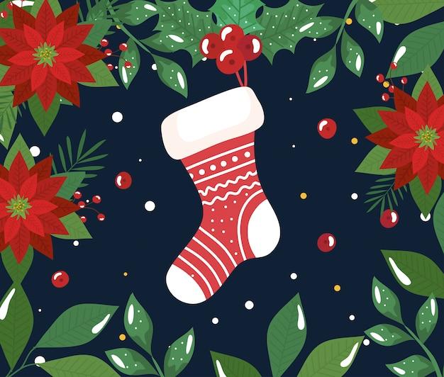 靴下と花の装飾とメリークリスマスポスター 無料ベクター
