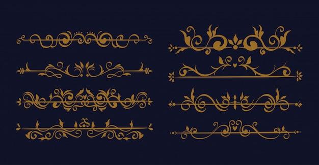 Комплект изящных декоративных бордюров Бесплатные векторы
