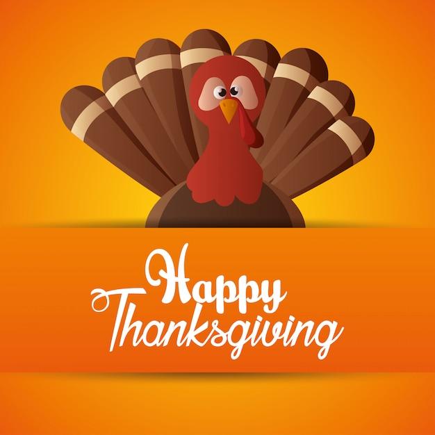 Счастливый день благодарения карты оранжевый фон Бесплатные векторы