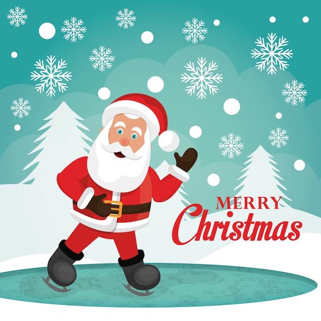 Веселого рождества и счастливого нового года дизайн карты Бесплатные векторы