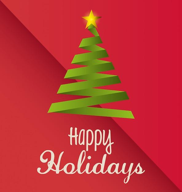 幸せな休日のクリスマスデザイン 無料ベクター