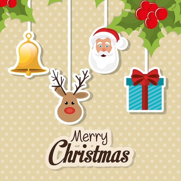 С рождеством красочная открытка Бесплатные векторы