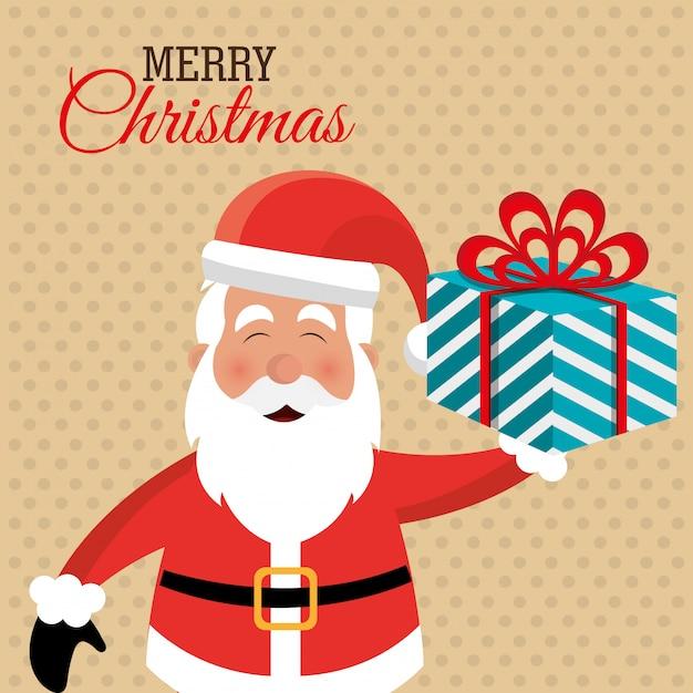 メリークリスマスのカラフルなカードデザイン 無料ベクター