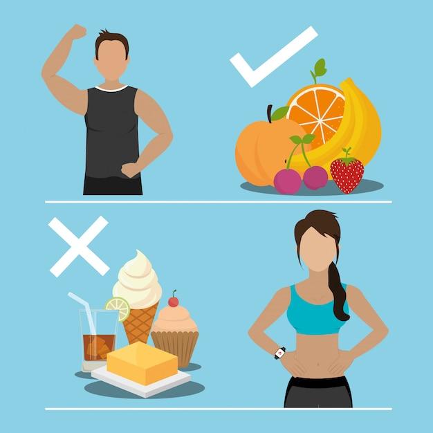 Фитнес и здоровое питание Бесплатные векторы