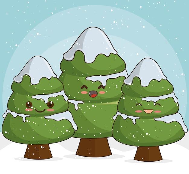 雪の中で雪に覆われたクリスマスツリー 無料ベクター
