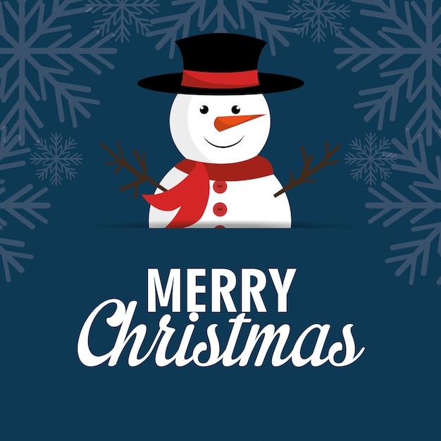 メリークリスマス漫画グリーティングカードデザイン 無料ベクター