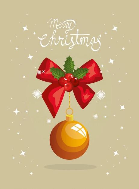 弓リボンとボールぶら下げメリークリスマスカード 無料ベクター